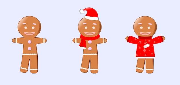 Um conjunto de bonecos de gengibre de natal em estilo cartoon