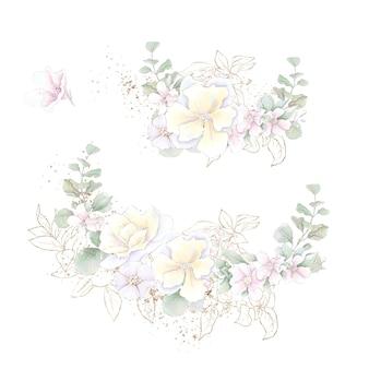 Um conjunto de bouquet de delicadas rosas e orquídeas