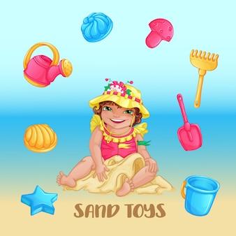 Um conjunto de brinquedos de areia e uma linda garota em um chapéu amarelo