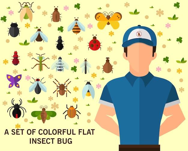 Um conjunto de bug colorido plano inseto conceito fundo