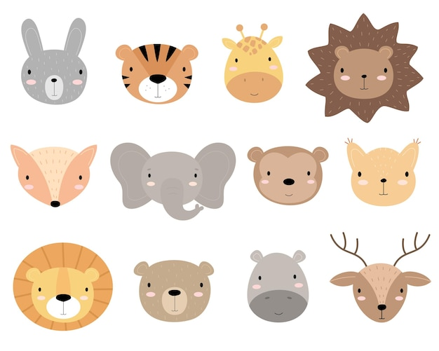 Um conjunto de cabeças de animais bonitos de desenho animado