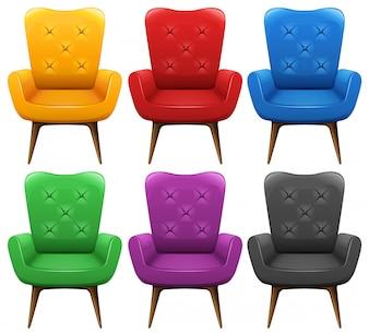 Um conjunto de cadeira colorida