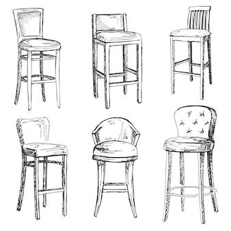 Um conjunto de cadeiras de bar isoladas.