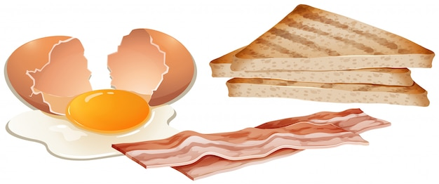 Um conjunto de café da manhã no fundo branco