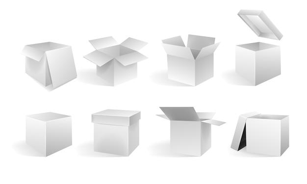 Um conjunto de caixas abertas e fechadas em diferentes ângulos. isometria em perspectiva. caixa de cartão branca.