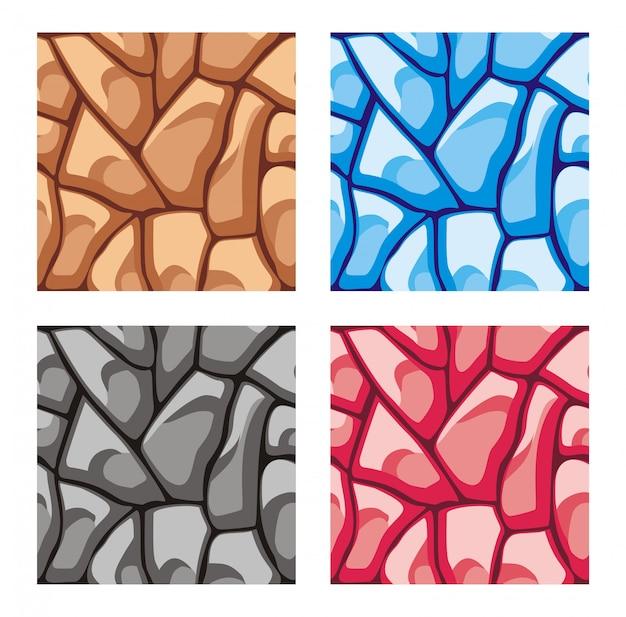 Um conjunto de camadas de rocha azulejo conjunto padrão