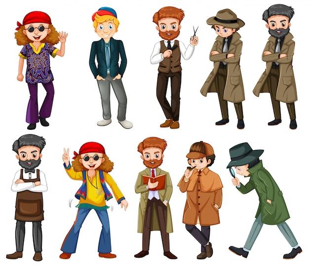 Um conjunto de caracteres masculinos