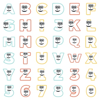 Um conjunto de caracteres na forma de letras e números com um rosto excêntrico, vetor de clip-art.
