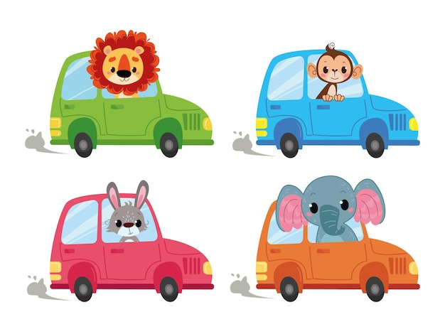 Um conjunto de carros de desenho animado em que se sentam motoristas de animais. macaco, leão, lebre e elefante partem em uma jornada. transporte de vetor isolado no estilo infantil. animais engraçados olham para fora do carro.