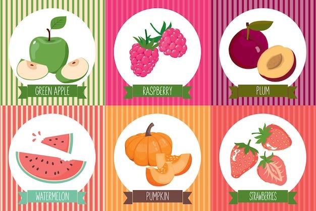 Um conjunto de cartas com comida vegetariana no quadro. vetor, isolado, fundo branco.