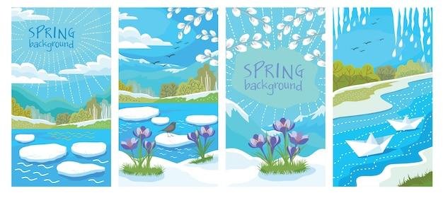 Um conjunto de cartas com paisagens de primavera: pássaros, pingentes de gelo, deriva de gelo, pingos de neve ..
