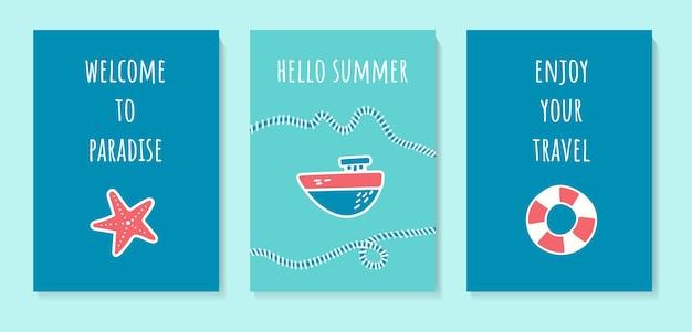 Um conjunto de cartas de verão com um lindo navio e uma estrela do mar boia salva-vidas