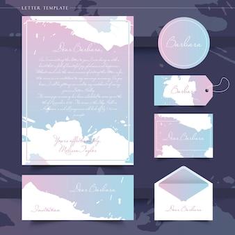 Um conjunto de cartas, etiquetas e cartões