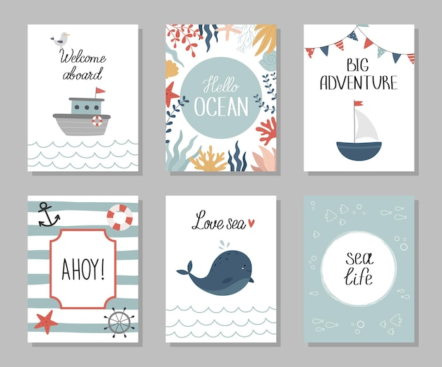 Um conjunto de cartas náuticas tema marinho