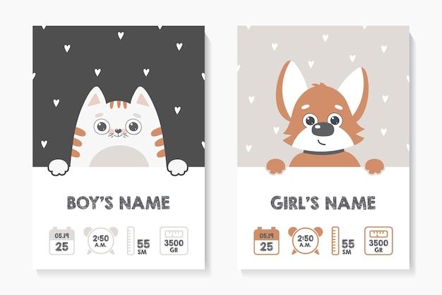 Um conjunto de cartazes infantis, altura, peso, data de nascimento. gato. cachorro