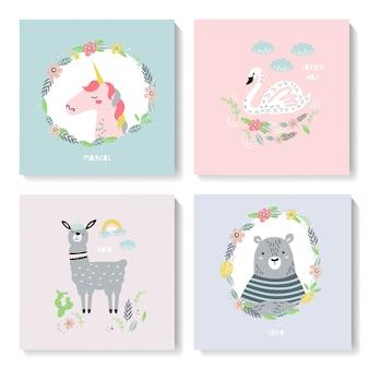 Um conjunto de cartões bonitos com animais.