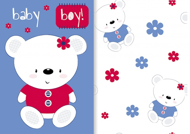 Um conjunto de cartões com um urso de pelúcia e padrão sem emenda infantil