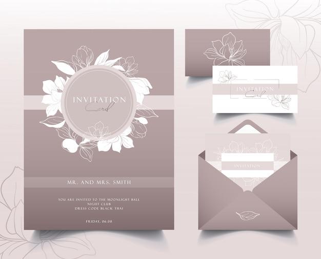 Um conjunto de cartões de convite elegante. flores