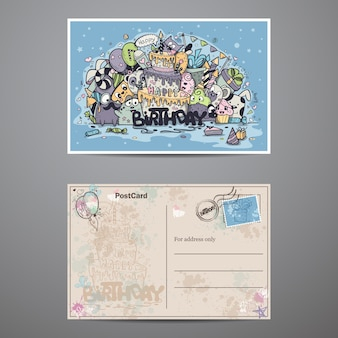 Um conjunto de cartões de dois lados para festa de aniversário