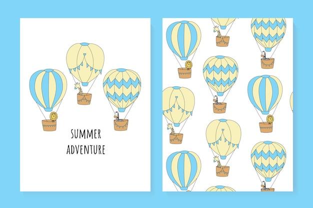 Um conjunto de cartões de verão bonitos balão de ar leão graffee zebra