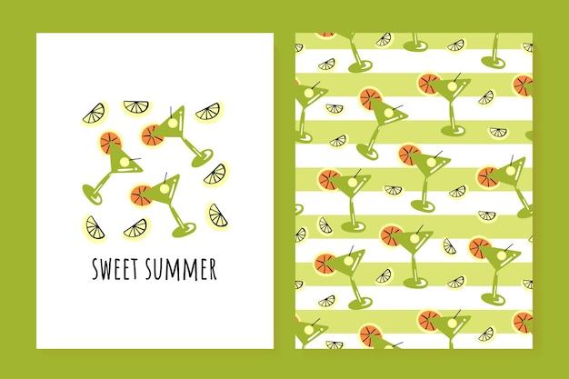 Um conjunto de cartões de verão bonitos coquetel de limão, pôsteres de verão