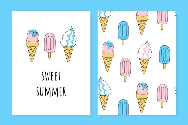 Um conjunto de cartões de verão fofos. sobremesa sorvete de verão