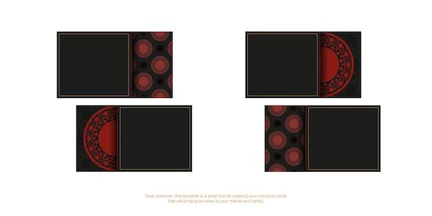 Um conjunto de cartões de visita em preto com enfeites vermelhos. design de cartão de visita pronto para impressão com espaço para seu texto e padrões luxuosos.
