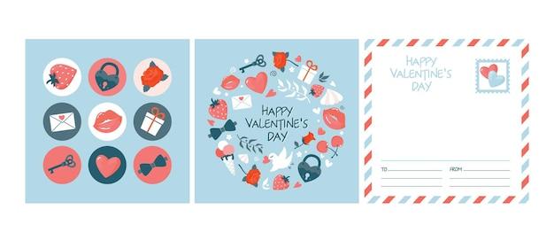 Um conjunto de cartões e adesivos redondos bonitos do dia dos namorados.