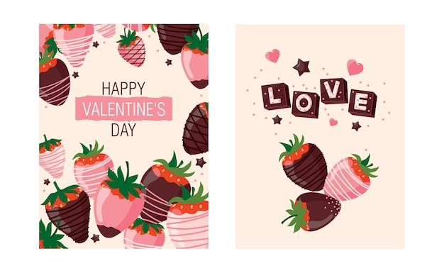 Um conjunto de cartões para o dia dos namorados com morangos e chocolate.