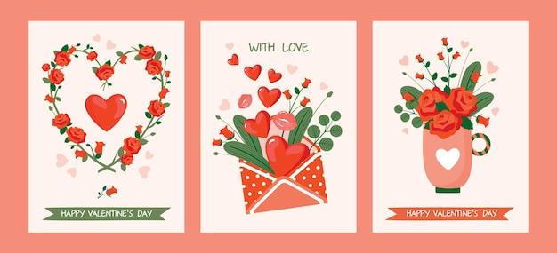 Um conjunto de cartões para o dia dos namorados com rosas: uma coroa de flores, um buquê em uma xícara, um envelope.