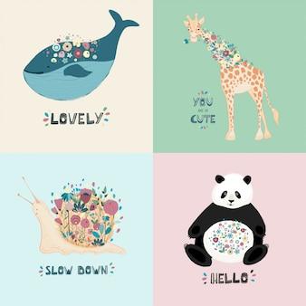 Um conjunto de cartões postais com animais fofos, flores e mão lettering.
