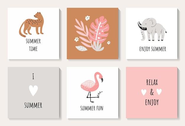 Um conjunto de cartões-postais com folhas de um lindo leopardo, elefante e flamingo