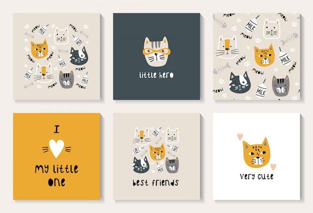 Um conjunto de cartões postais com um gato fofo