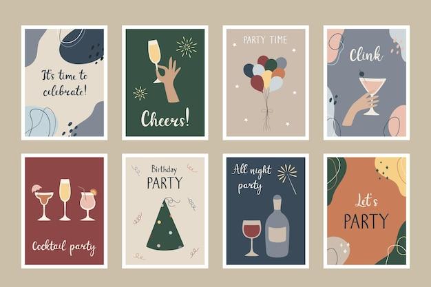 Um conjunto de cartões postais de festa modelos para convites de festa, cartões de felicitações, pôsteres