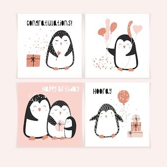 Um conjunto de cartões postais fofos com pinguins