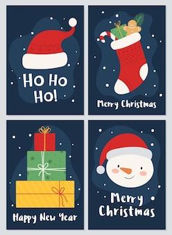 Um conjunto de cartões postais para os feriados de natal e ano novo. meias, presentes boneco de neve e chapéu de papai noel.