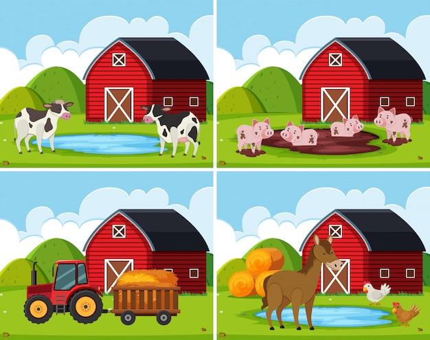 Um conjunto de casa de fazenda rural