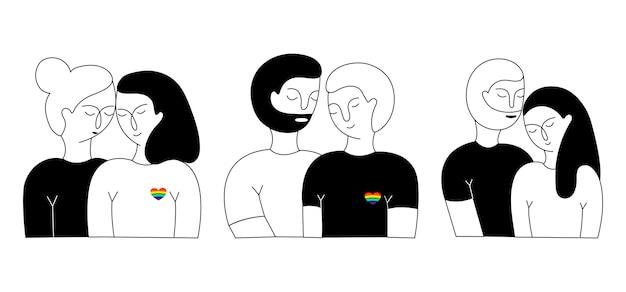 Um conjunto de casal lisbian, casal gay e casal heterossexual.