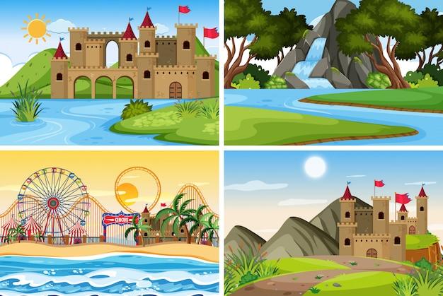 Um conjunto de cena ao ar livre, incluindo castelo