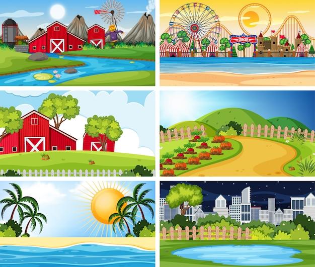 Um conjunto de cena ao ar livre, incluindo fazenda