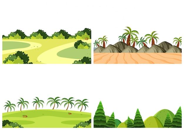 Um conjunto de cena ao ar livre, incluindo palmeiras