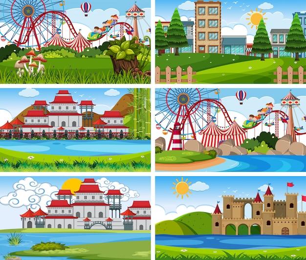 Um conjunto de cena ao ar livre, incluindo parque de diversões