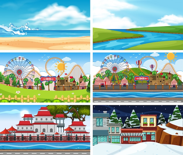 Um conjunto de cena ao ar livre, incluindo praia