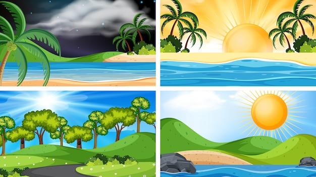 Um conjunto de cena ou fundo ao ar livre, incluindo sol Vetor Premium