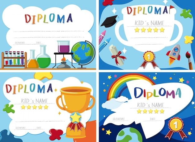 Um conjunto de certificado de diploma