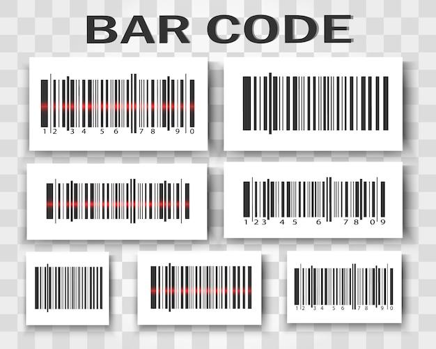 Um conjunto de códigos de barras. produto com código de barras.