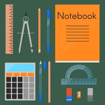 Um conjunto de coisas necessárias para o estudo.
