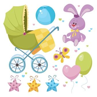 Um conjunto de coisas para crianças para crianças. carrinho de criança, bolas, etc., para um aniversário de bebê. vector
