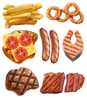 Um conjunto de comida ocidental