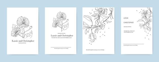 Um conjunto de convites de casamento convite de design de cartão com elementos florais